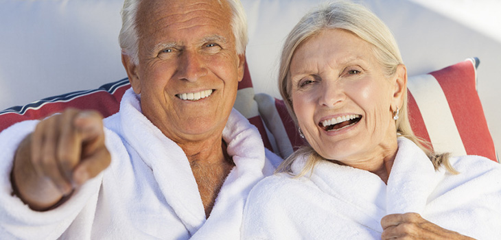 couple in robes enjoying a spa day