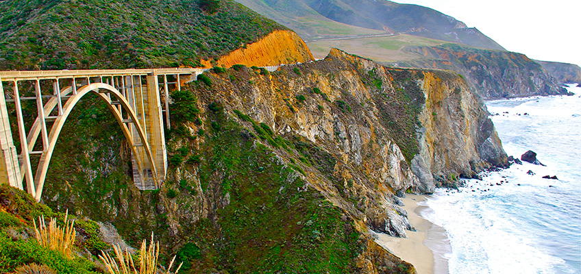 bridge set in the mountains by the beach