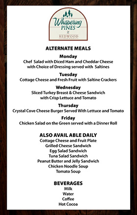 alternative daily menu list