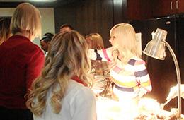 servers in a buffet line