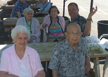 Residents enjoying some time together outside