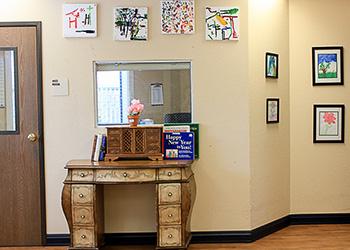 Room showing resident artwork