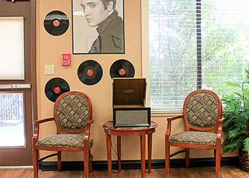 Sitting area with an Elvis record and posters behind it