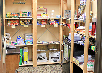 Pantry area with items for purchase